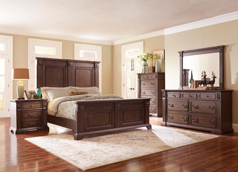 Homelegance Dothan Park Panel Bedroom Set - Rich Brown Cherry