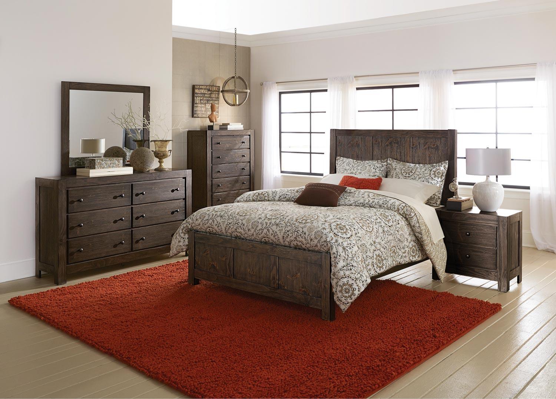 homelegance farrin panel bedroom set dark rustic pine b1924 1 at