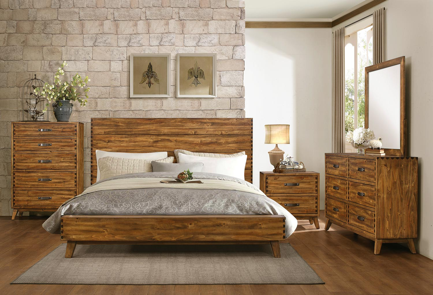 homelegance sorrel panel platform bedroom set rustic 17016 | he 1927 bed set