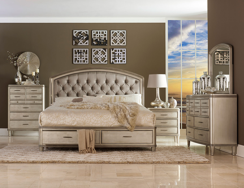 Homelegance Tandie Button Tufted Upholstered Platform Bed with Storage Bedroom Set - Champagne