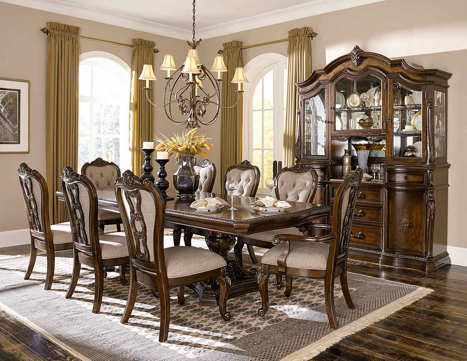 Homelegance Bonaventure Park Dining Set - Gold-Highlighted Cherry