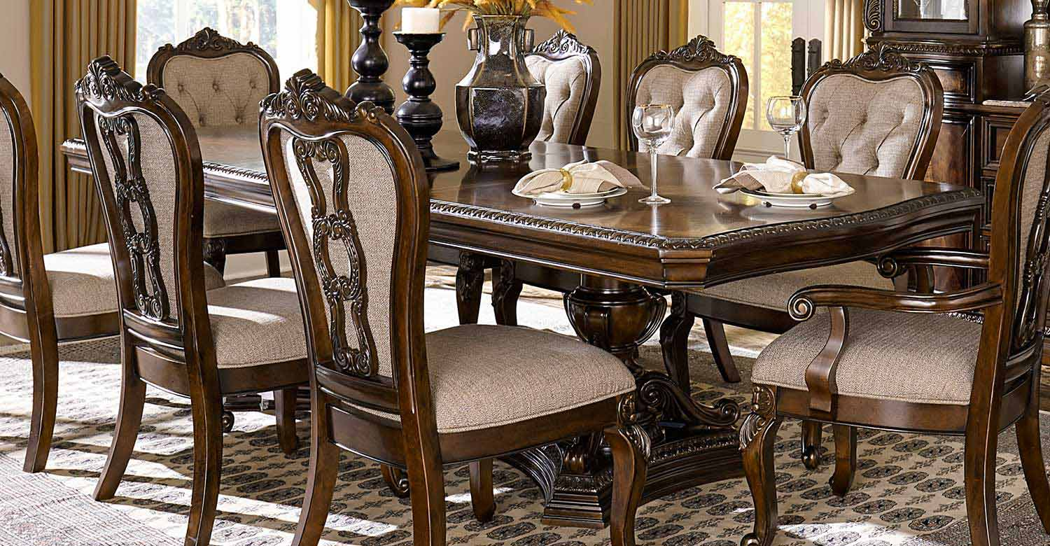 Homelegance Bonaventure Park Double Pedestal Dining Table