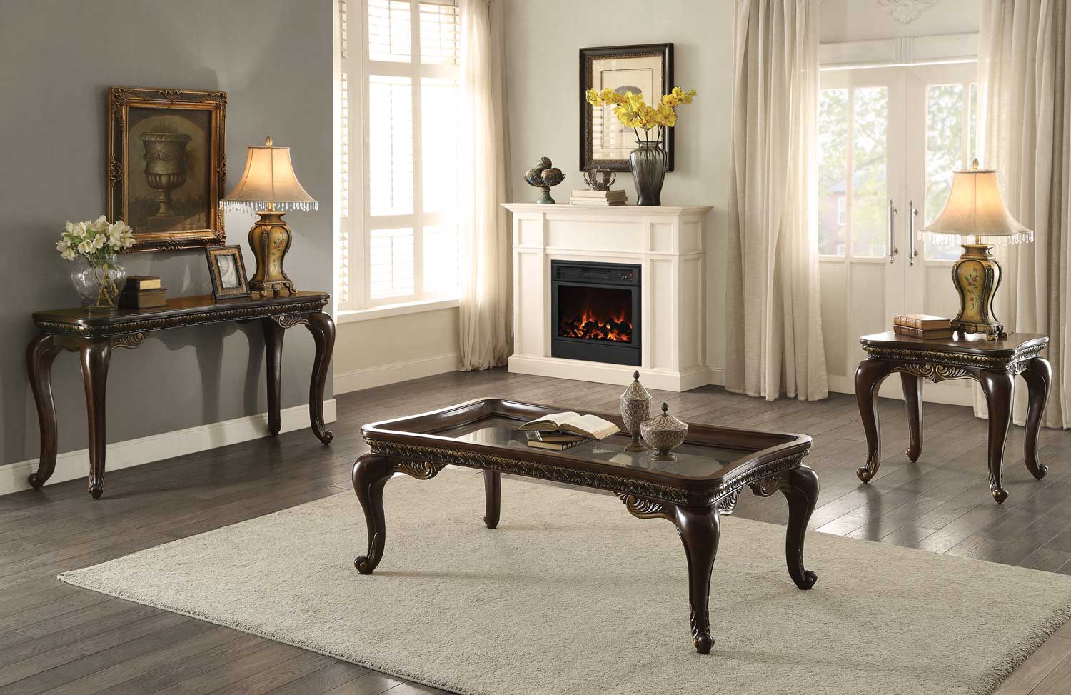 Homelegance Bonaventure Cocktail/Coffee Table Set - Cherry