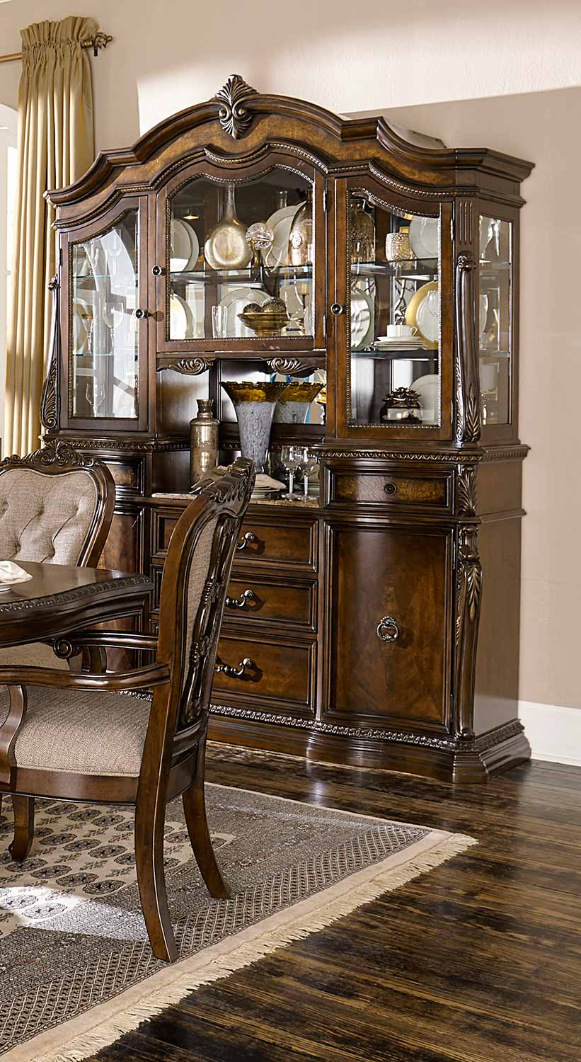 Homelegance Bonaventure Park China Cabinet - Gold-Highlighted Cherry