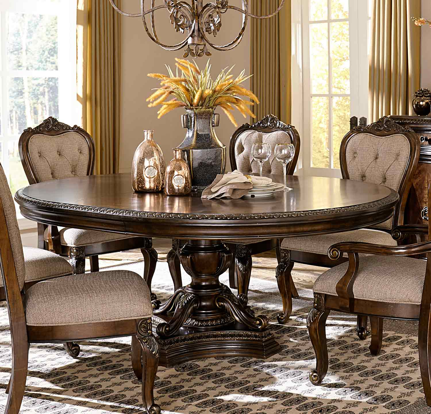 Homelegance Bonaventure Park Round / Oval Pedestal Dining Table with Leaf - Gold-Highlighted Cherry