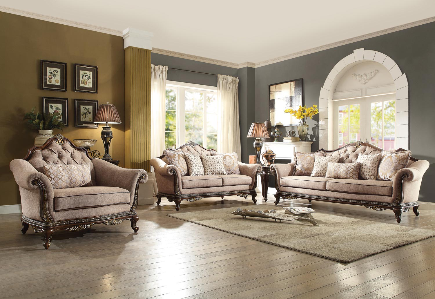 Homelegance Bonaventure Park Sofa Set - Chenille - Brown