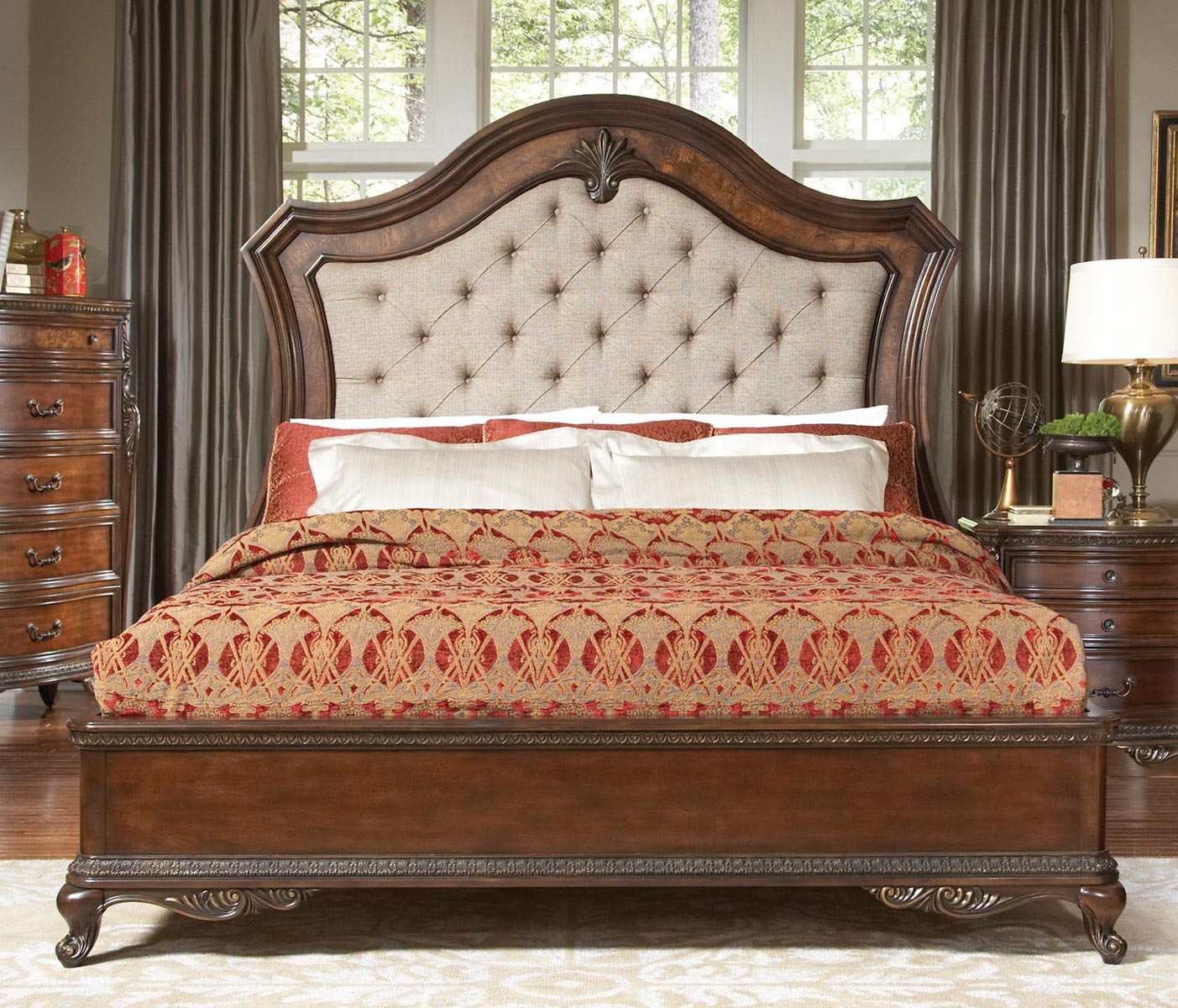 Homelegance Bonaventure Park Upholstered Bed - Warm Cherry