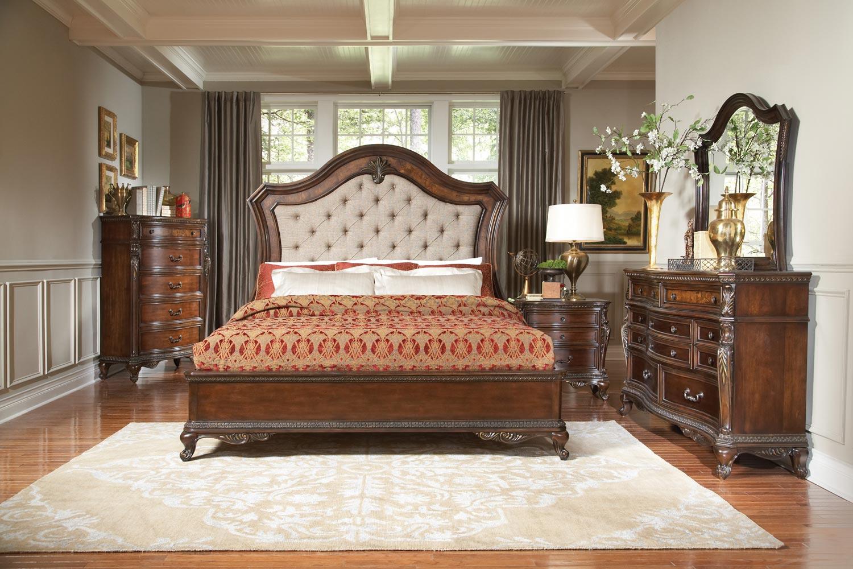 Homelegance Bonaventure Park Upholstered Bedroom Set - Warm Cherry