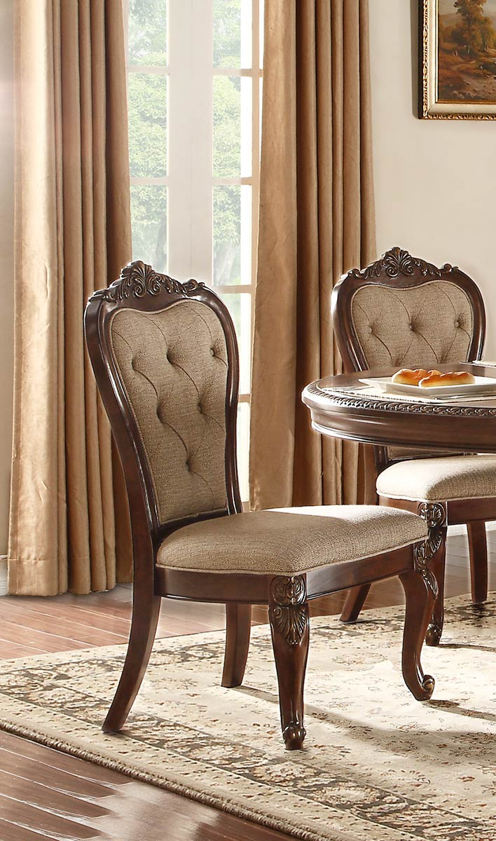 Homelegance Bonaventure Park Side Chair - Gold-Highlighted Cherry