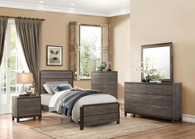 Homelegance Vestavia Panel Bedroom Set - Grey/Dark Brown