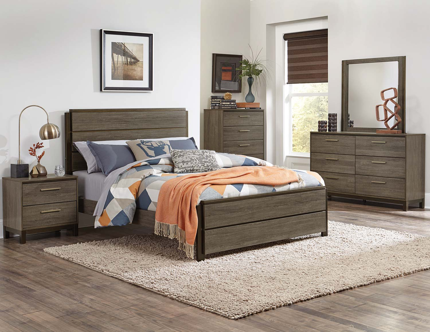 Homelegance Vestavia Panel Bedroom Set - Grey/Dark Brown