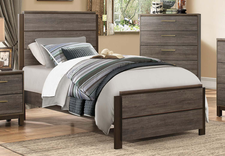 Homelegance Vestavia Panel Bed - Grey/Dark Brown