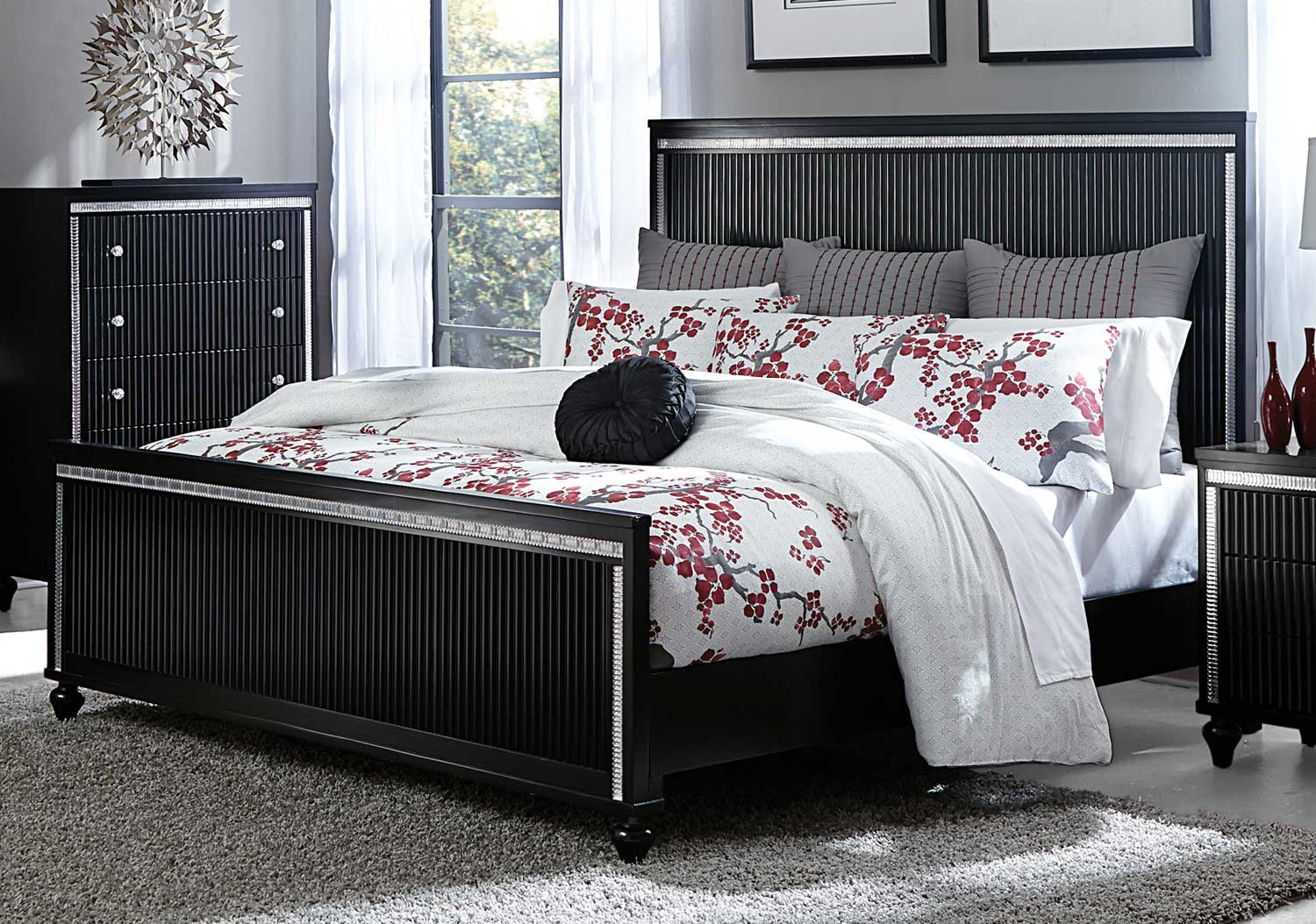 Homelegance Sakura Panel Bed - Black