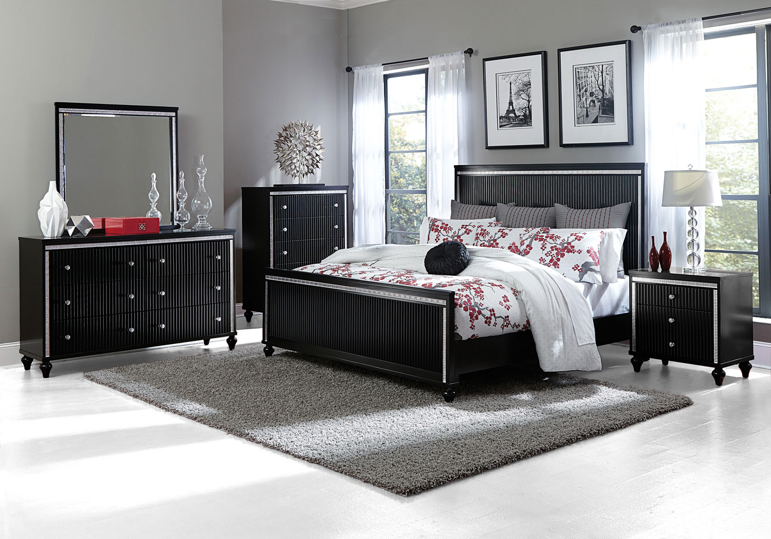 Homelegance Sakura Panel Bedroom Set - Black