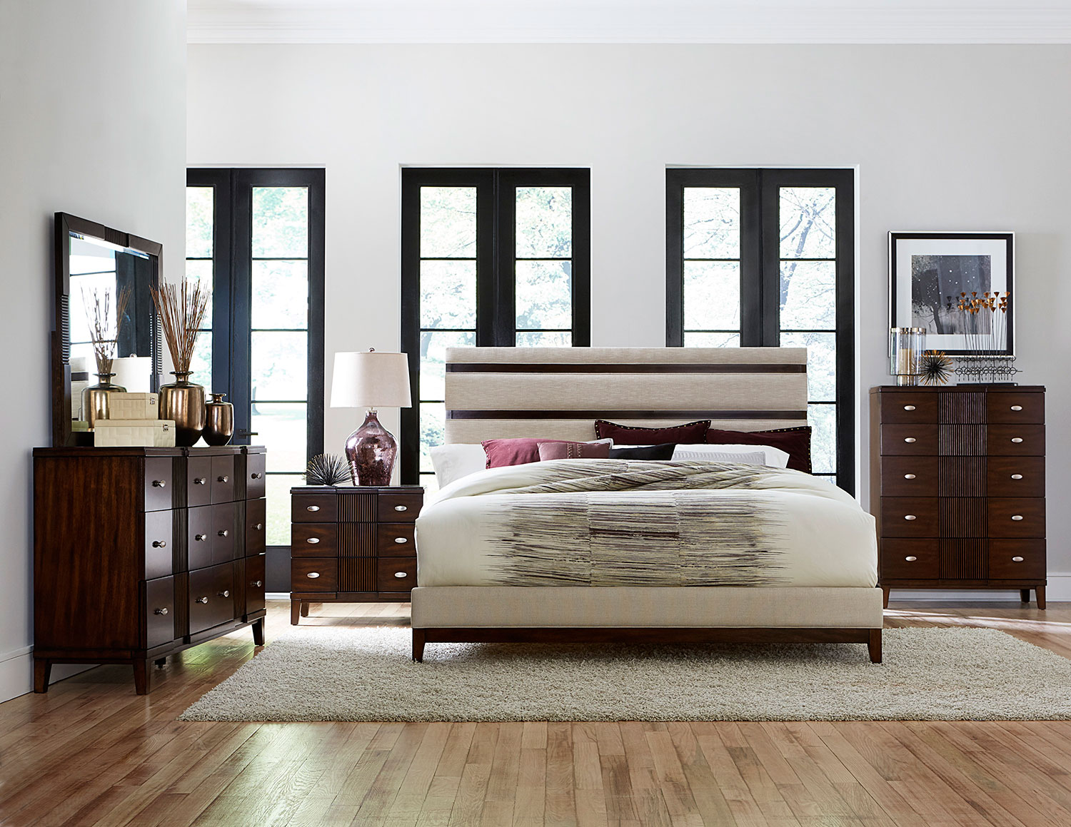 Homelegance Pelmar Upholstered Bedroom Set - Dark Walnut