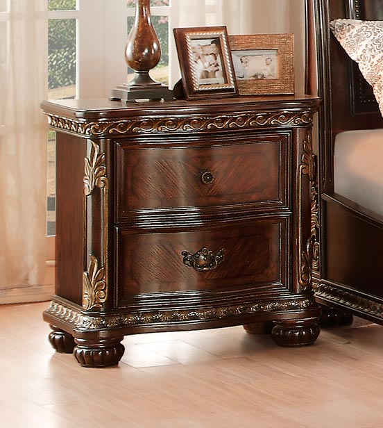 Homelegance Chaumont Night Stand - Burnished Brown Cherry