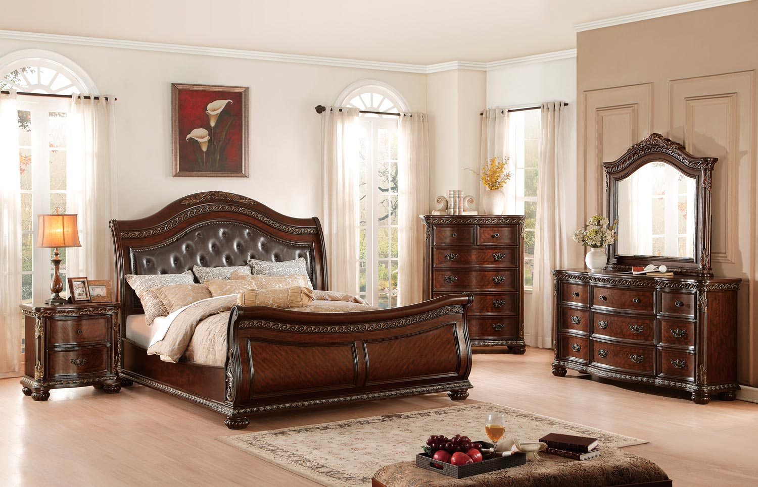 Homelegance Chaumont Upholstered Sleigh Bedroom Set - Burnished Brown Cherry