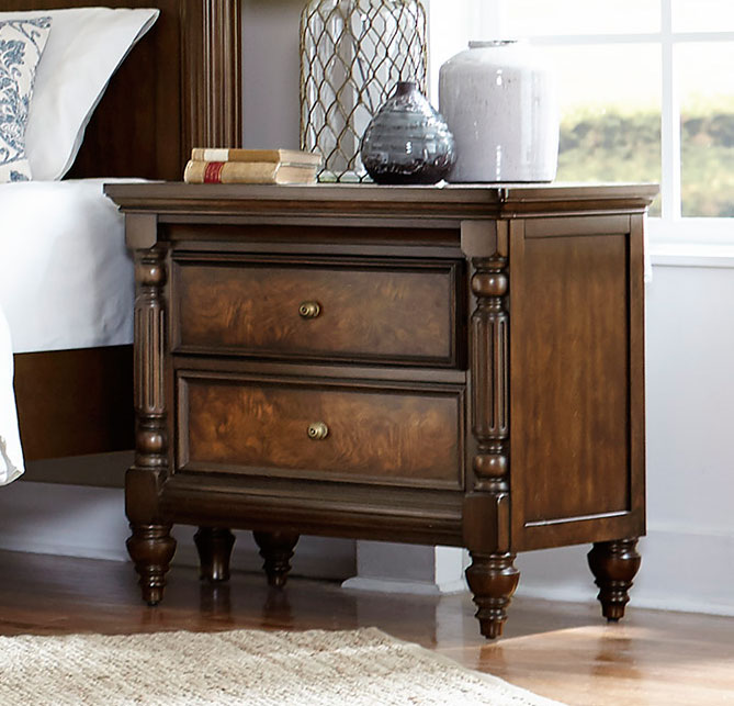 Homelegance Verlyn Night Stand - Cherry with Burl Accents