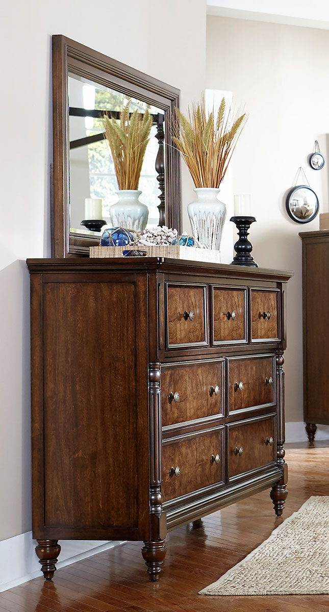 Homelegance Verlyn Dresser - Cherry with Burl Accents