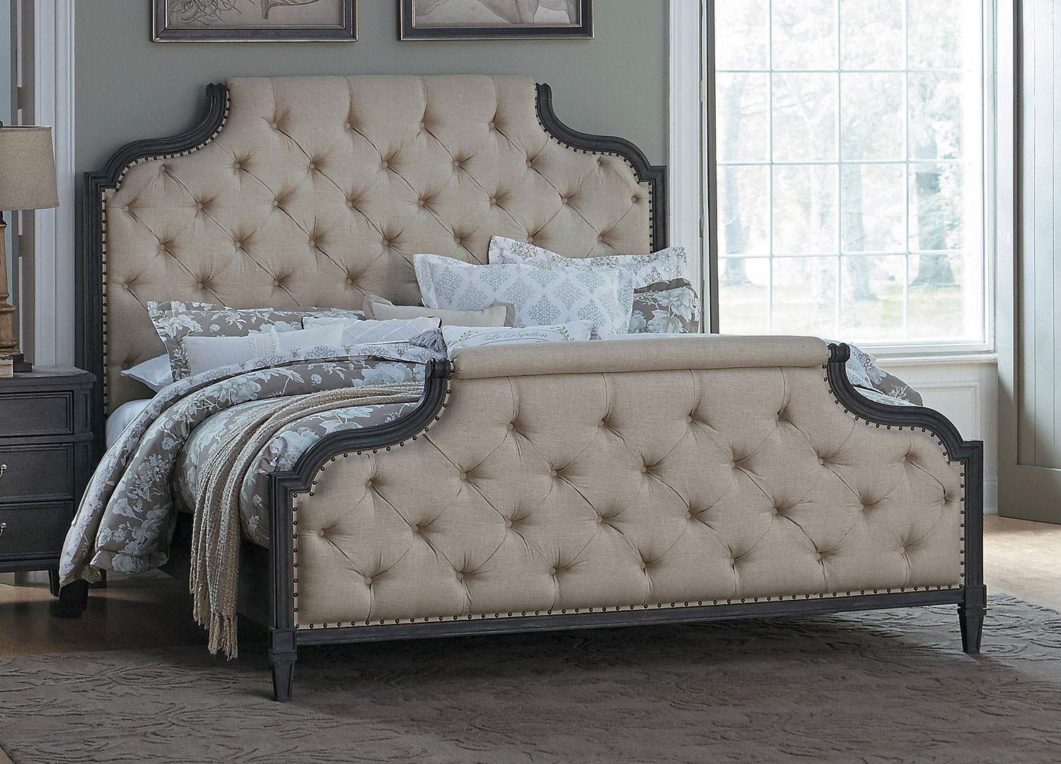 Homelegance Lindley Button Tufted Upholstered Bed - Dusty Gray