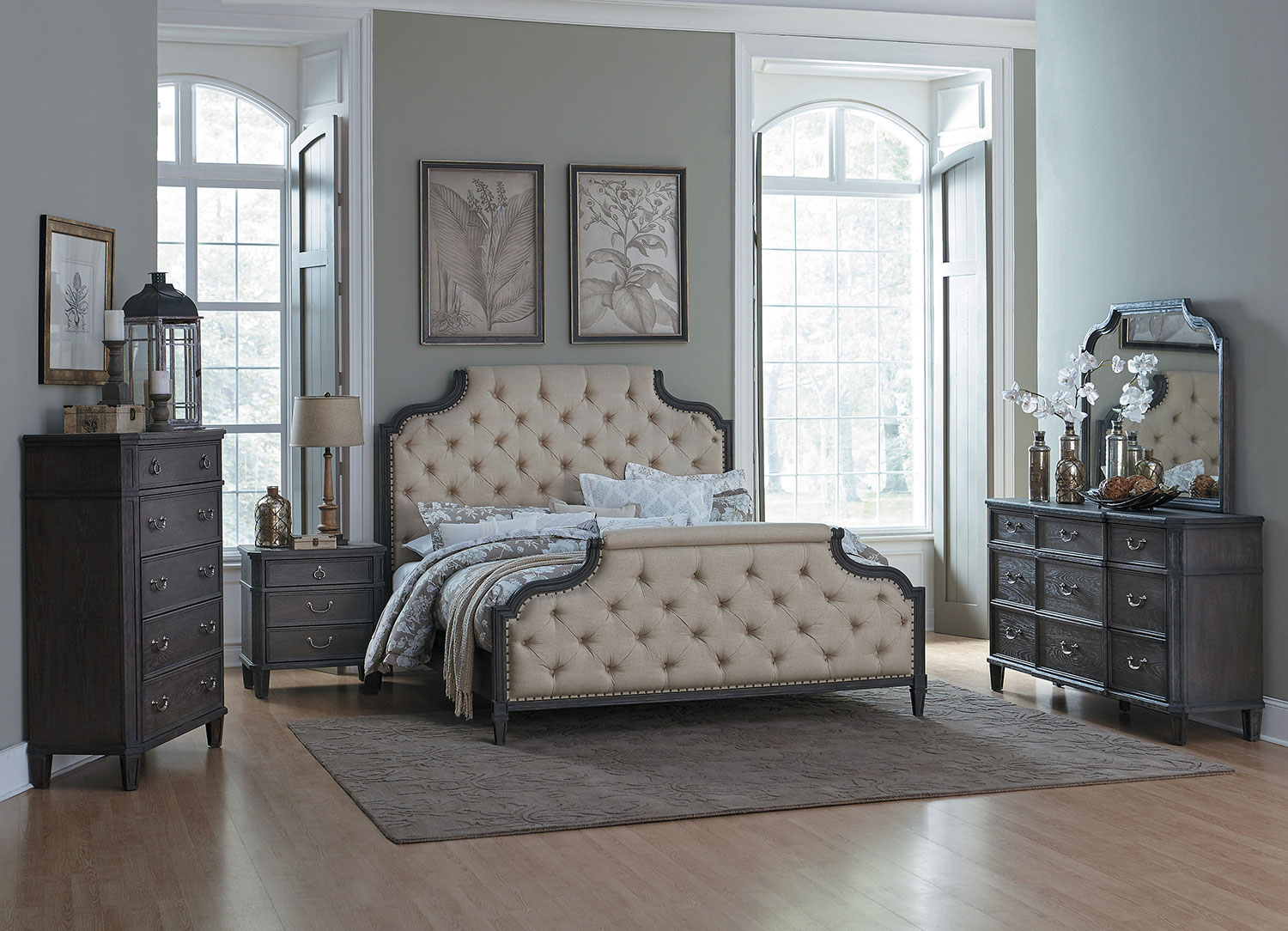 Homelegance Lindley Button Tufted Upholstered Bedroom Set - Dusty Gray