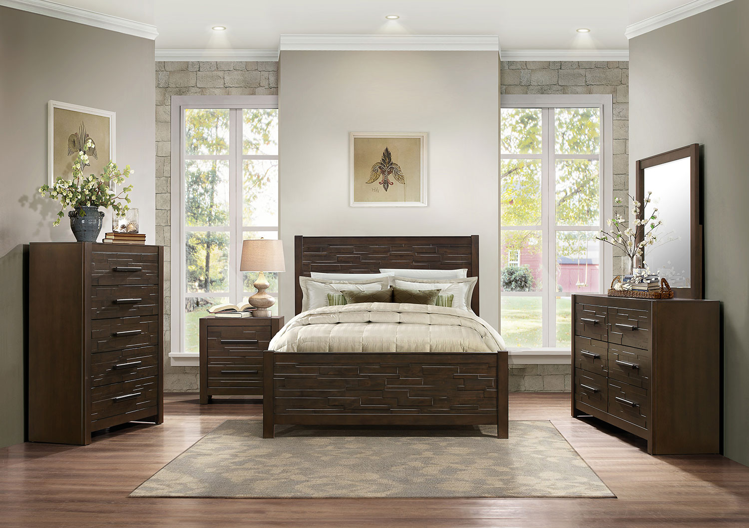 Homelegance Bowers Bedroom Set - Rustic Java Brown