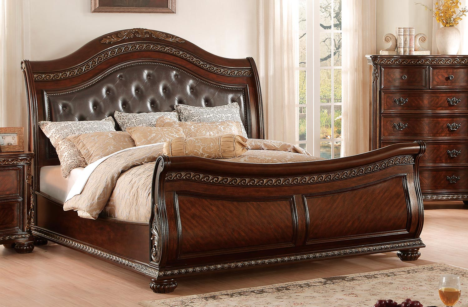 Homelegance Chaumont Upholstered Sleigh Bed - Burnished Brown Cherry