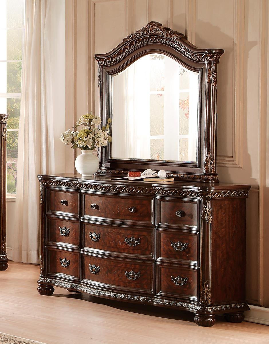 Homelegance Chaumont Dresser - Burnished Brown Cherry