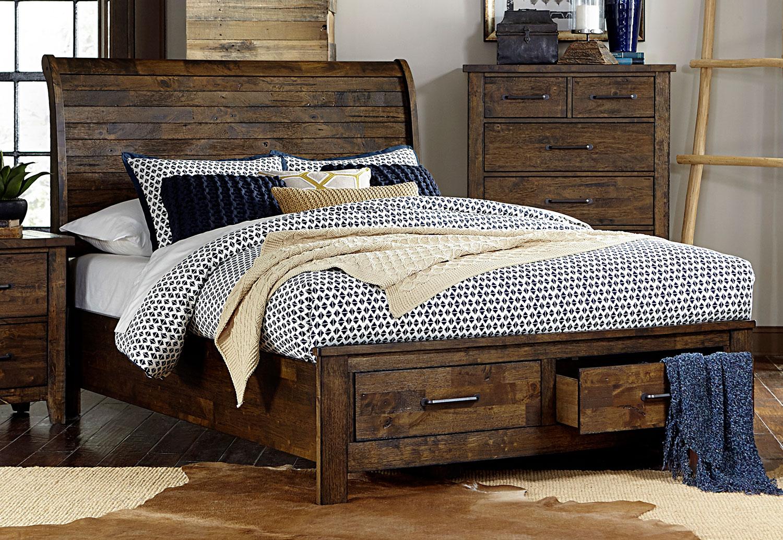 Homelegance Jerrick Sleigh Platform Storage Bed - Rustic Burnished Wood