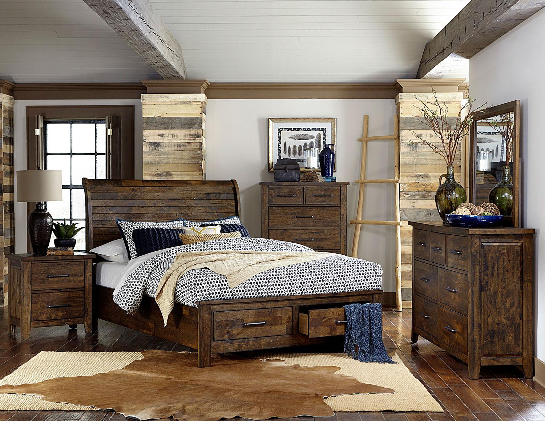 wonderful wood bedroom furniture | Homelegance Jerrick Sleigh Platform Storage Bedroom Set ...