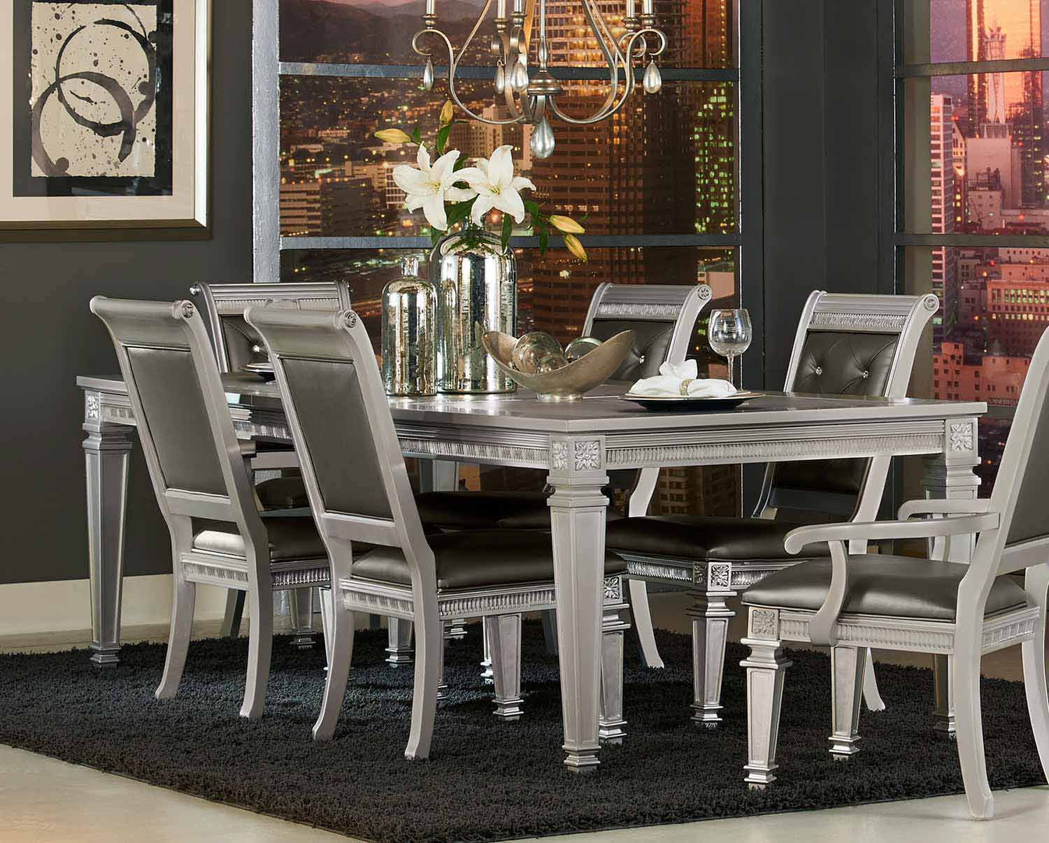 Homelegance Bevelle Dining Table with Leaf - Silver