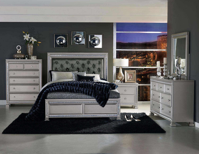 Homelegance Bevelle Button Tufted Upholstered Bedroom Set - Silver ...