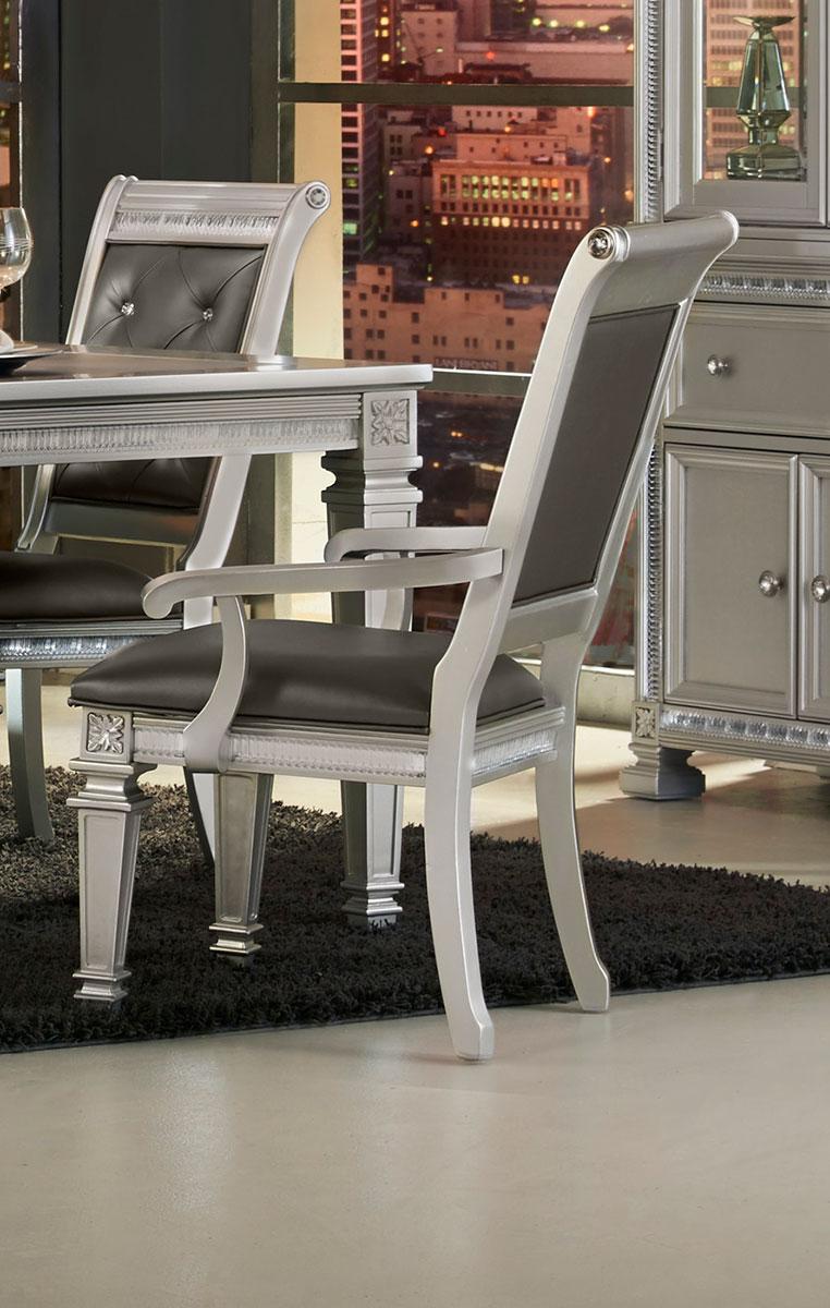 Homelegance Bevelle Arm Chair - Silver