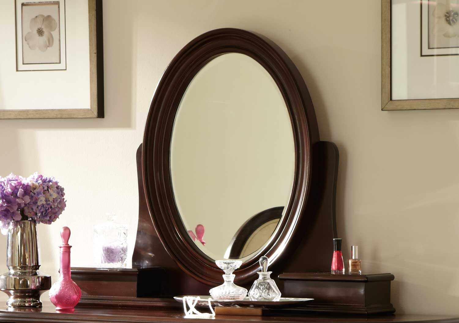 Homelegance 2002-10M Lund Vanity Mirror - Rich Cherry