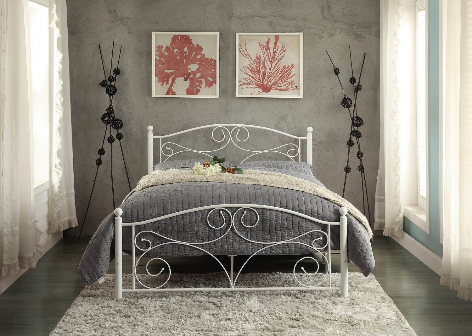 Homelegance Pallina Metal Platform Bed - White