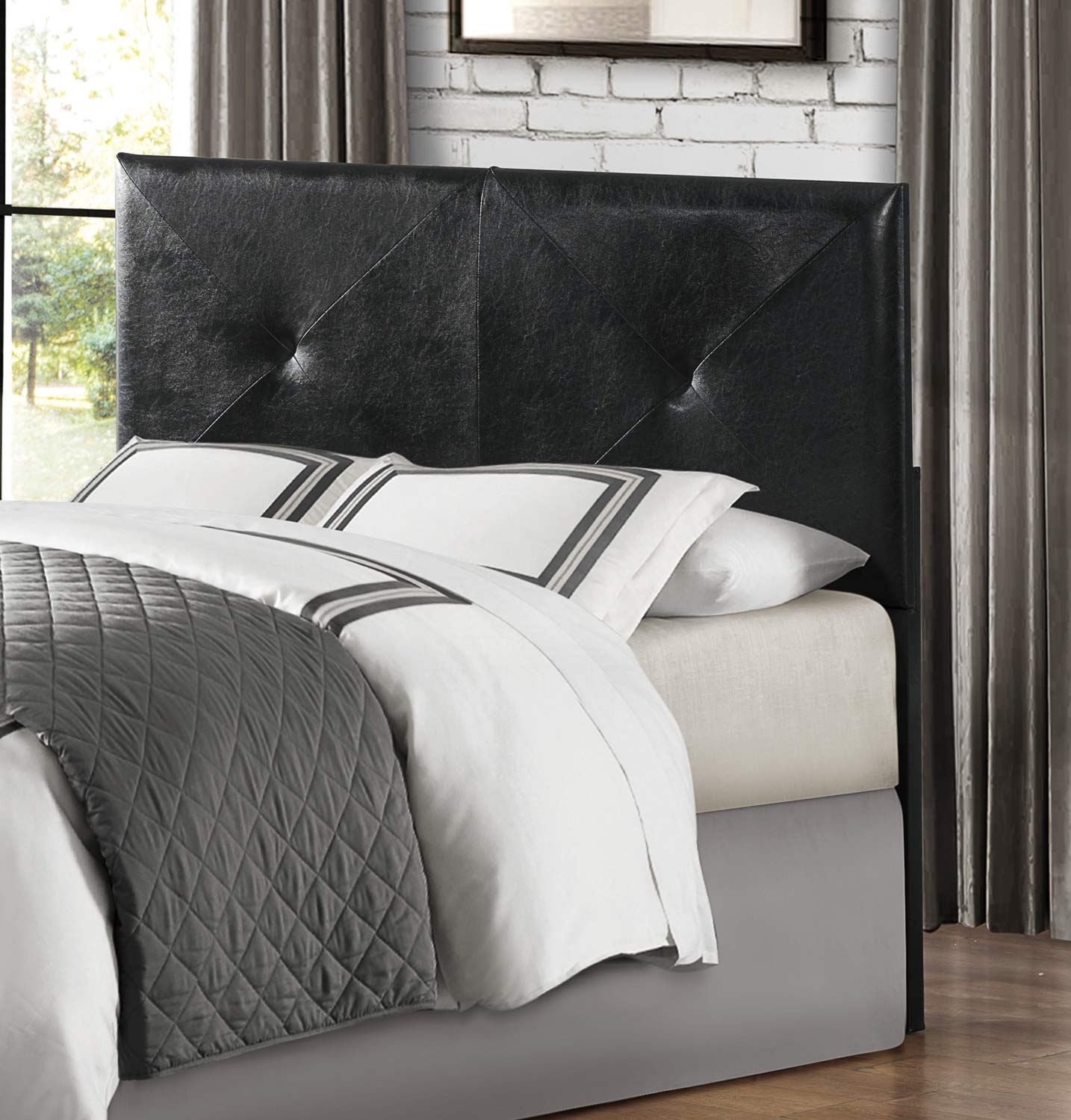 Homelegance Portrero Upholstered Headboard - Black Bi-Cast Vinyl