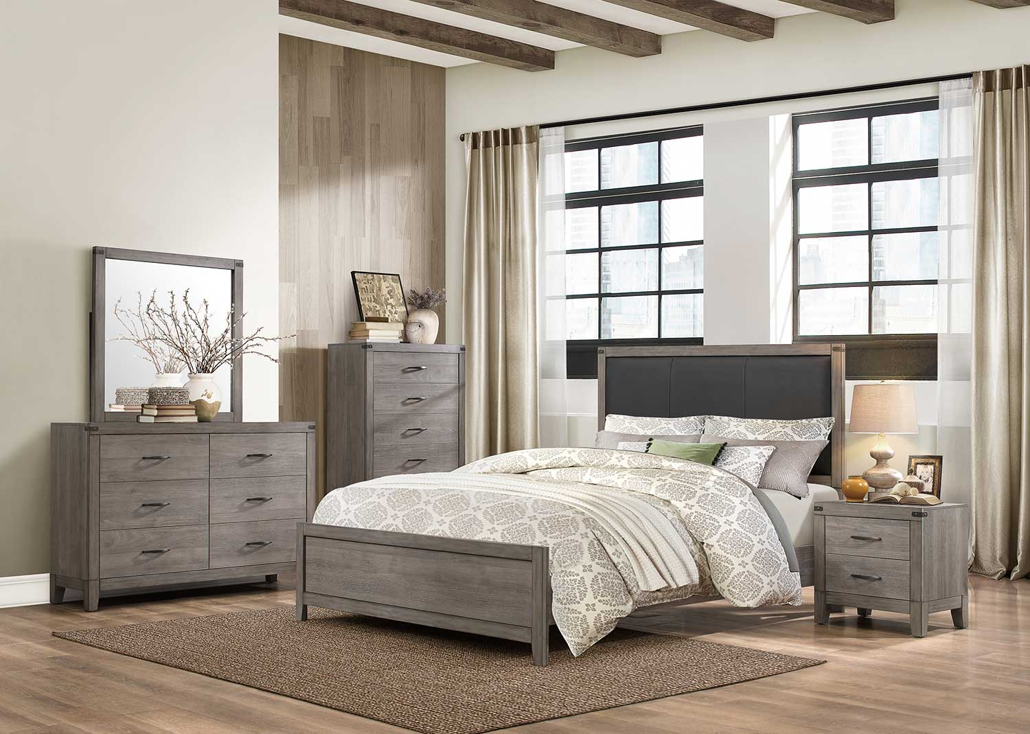 Homelegance Woodrow Bedroom Set - Weathered - Black Bi-cast Vinyl