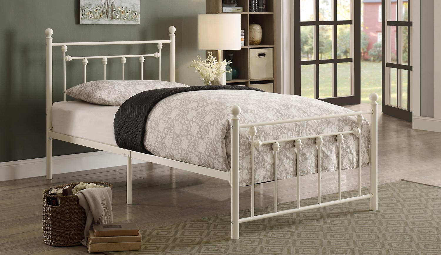 Homelegance Lia Metal Platform Bed White 2048tw 1 At