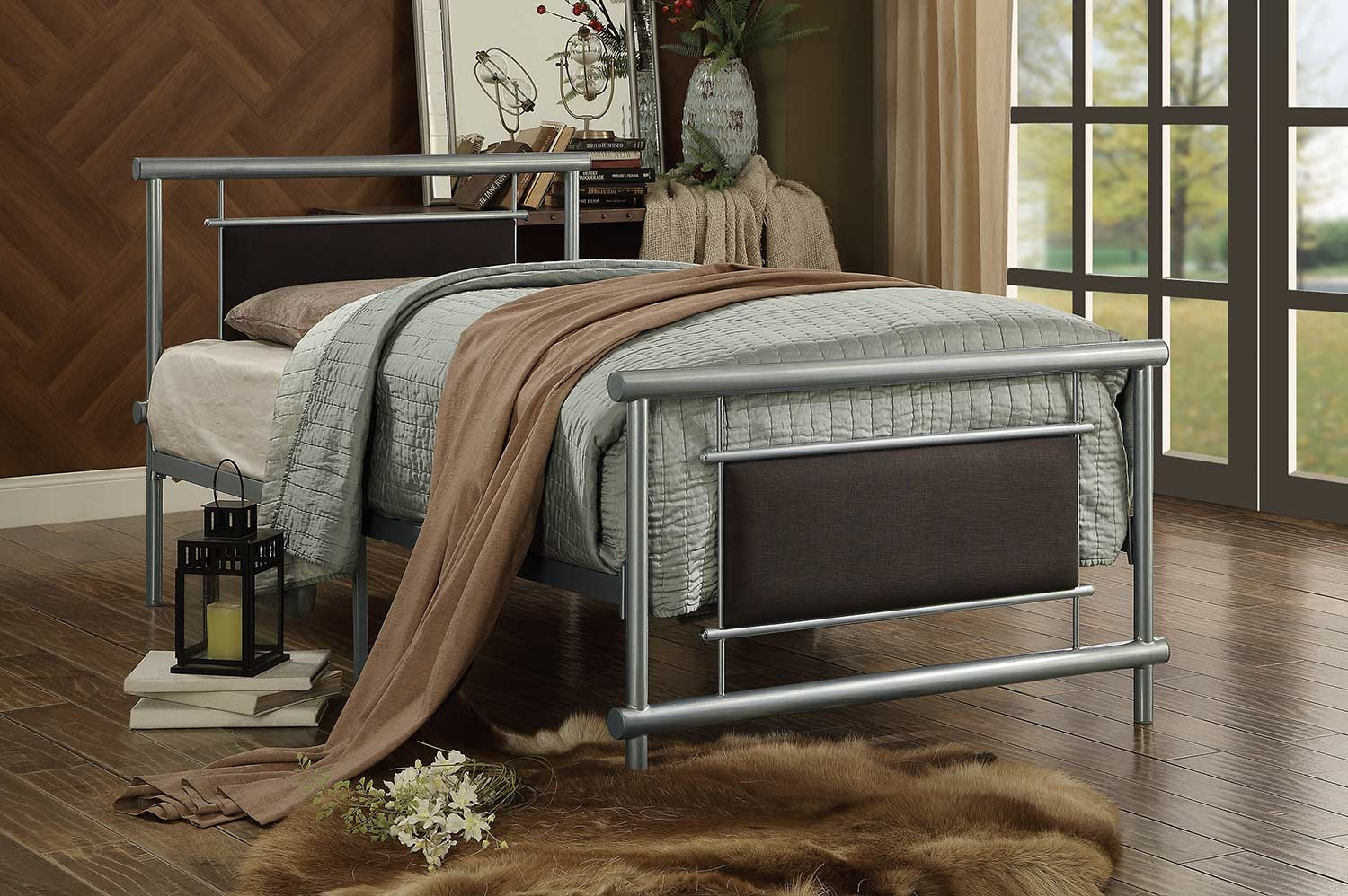 Homelegance Gavino Upholstered Metal Platform Bed - Grey-Brown