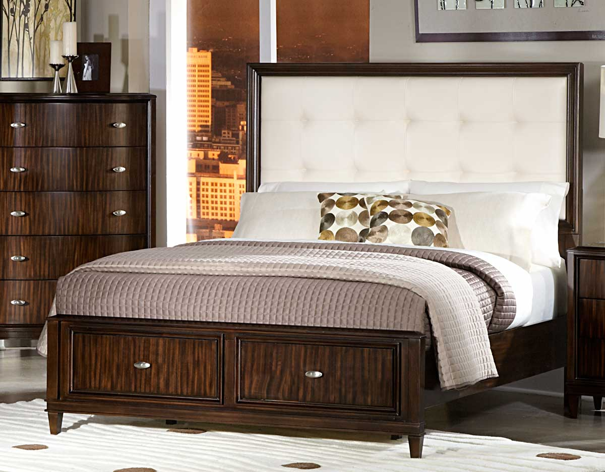 Homelegance Abramo Bed - Cream Bonded Leather