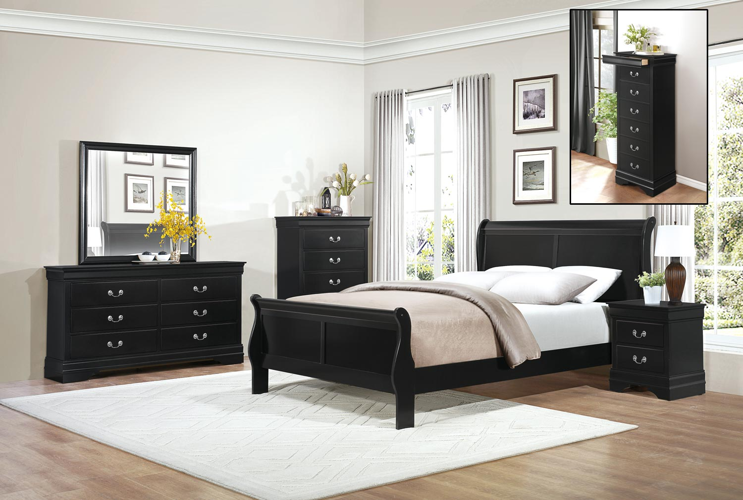 black bedroom furniture set | Homelegance Mayville Bedroom Set - Black 2147BK-BEDROOM ...