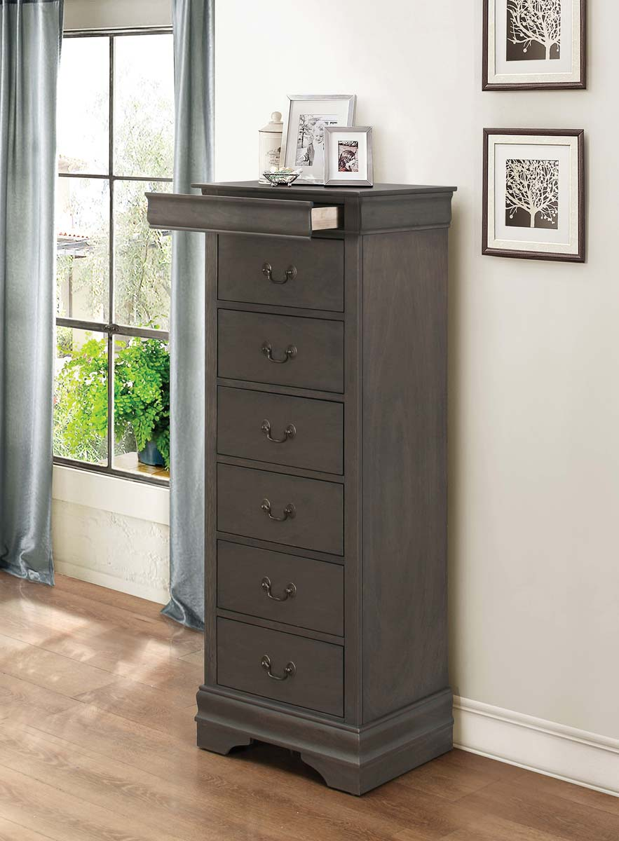 Homelegance Mayville Lingerie Chest - Hidden Drawer - Stained Grey