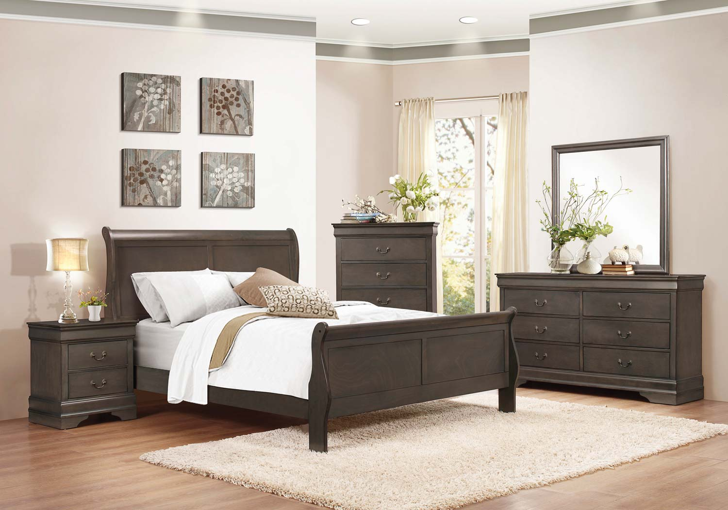 Homelegance mayville sleigh bedroom set stained grey for Bedroom furniture for less