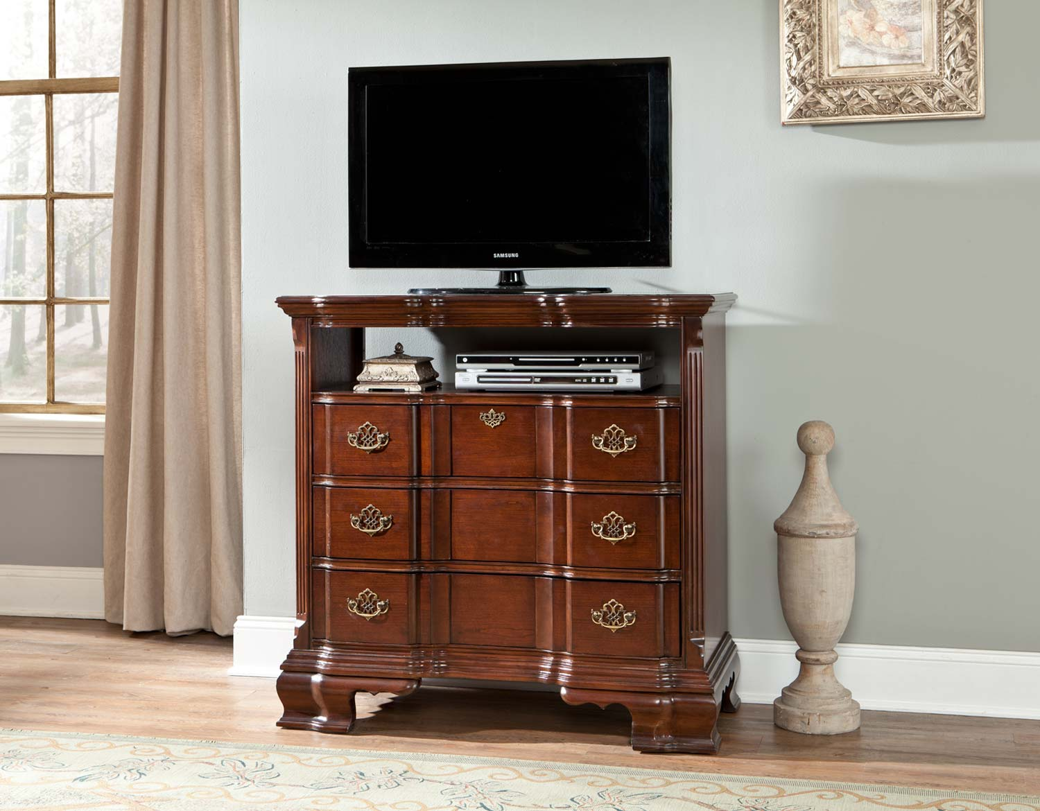 Homelegance Guilford TV Chest - Brown Cherry