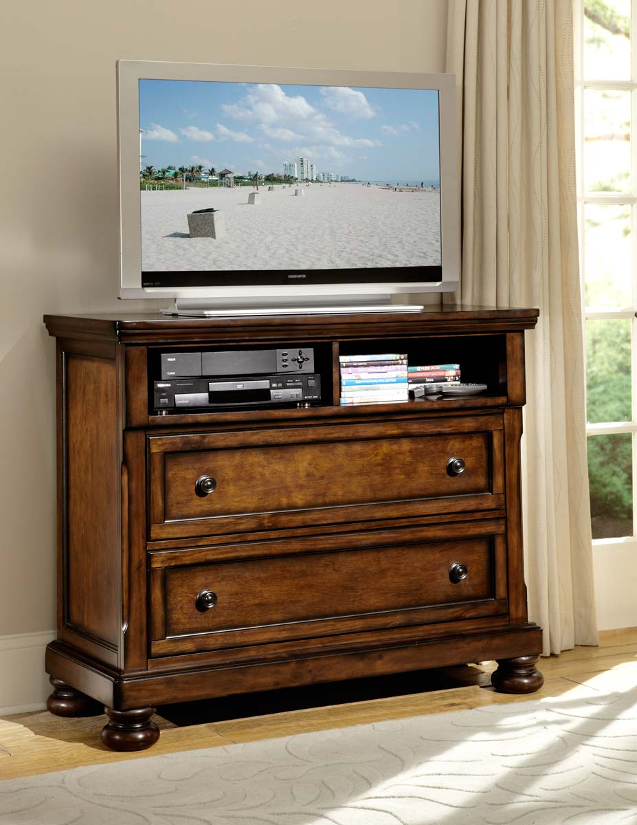 Homelegance Cumberland TV Chest - Brown Cherry