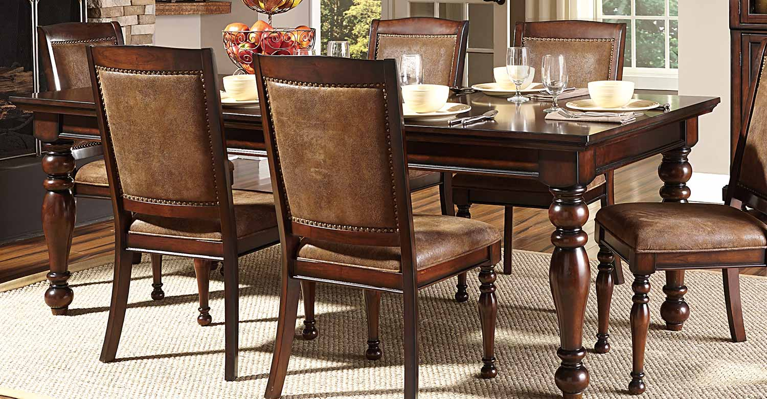 Homelegance Cumberland Dining Set Rich Medium Brown 2159 Dining Set At