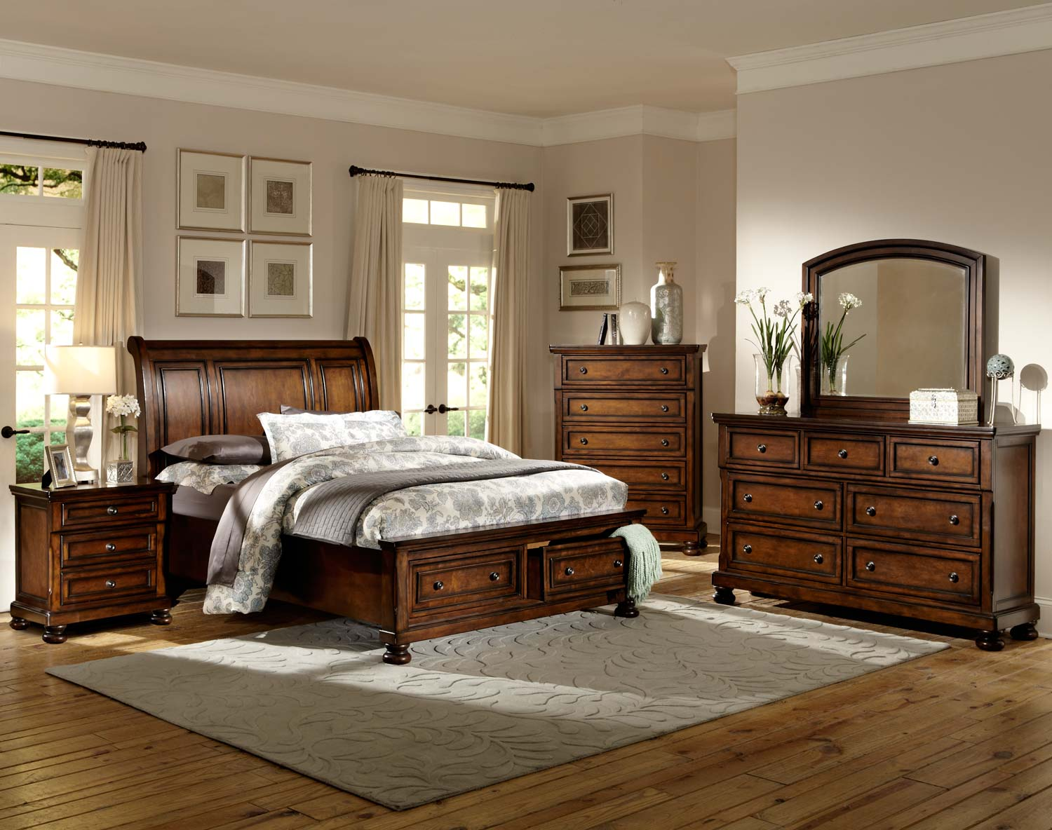 Homelegance Cumberland Platform Bedroom Set Brown Cherry