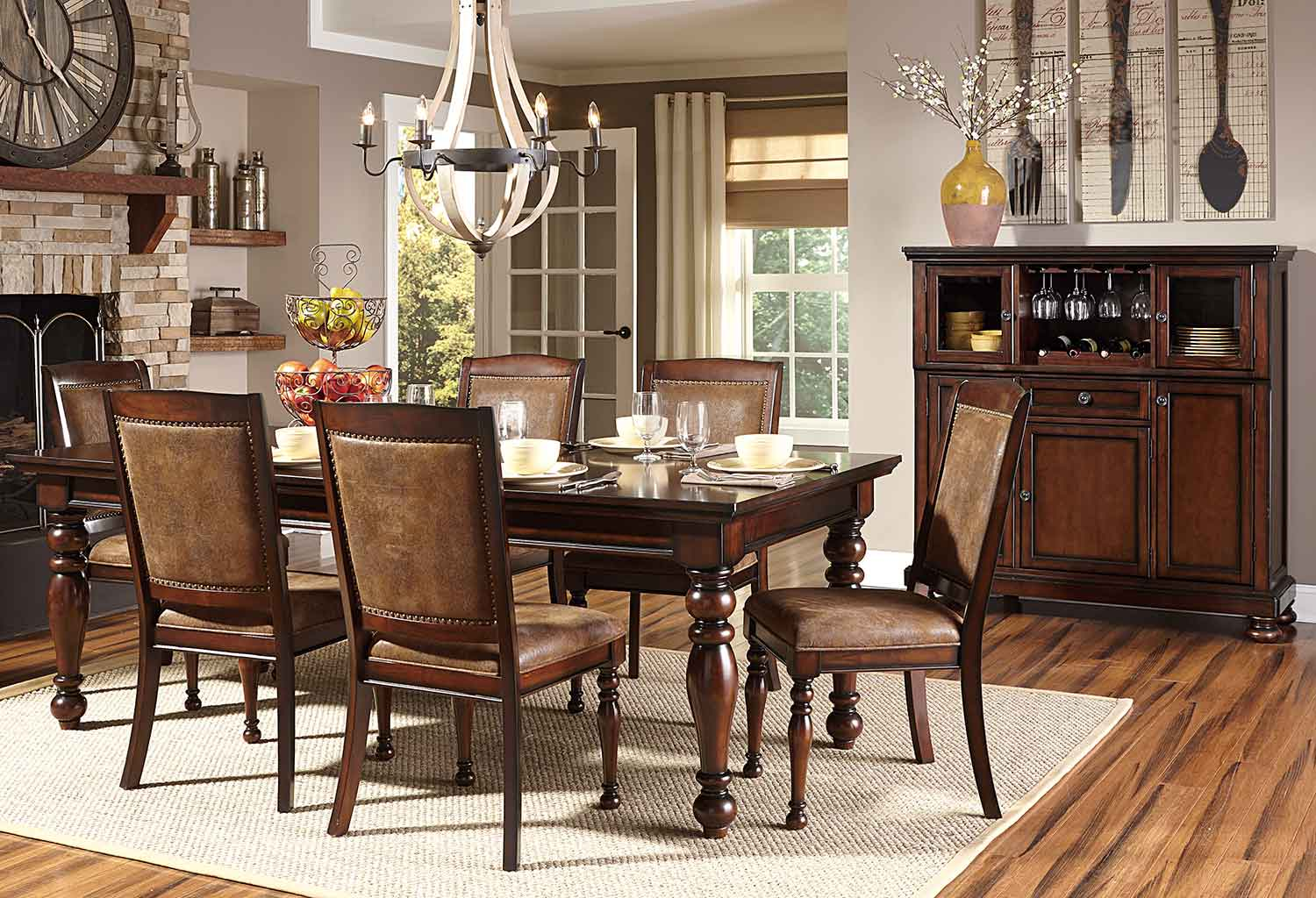 Homelegance Cumberland Dining Set - Rich Medium Brown