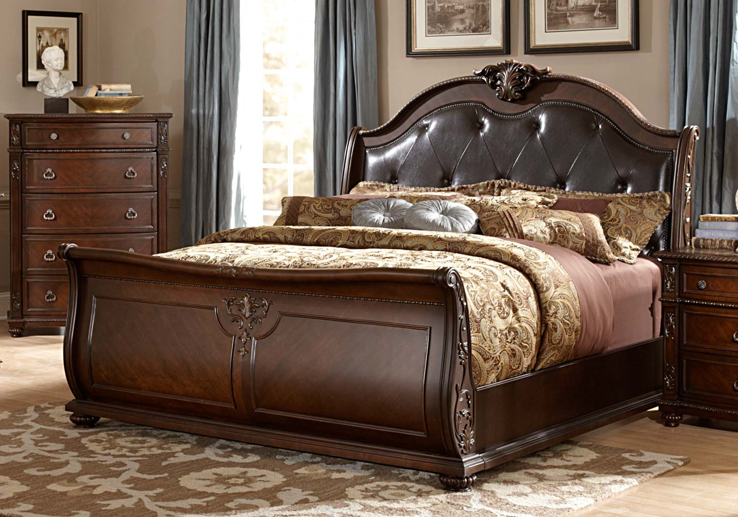 Homelegance Hillcrest Manor Sleigh Bed - Cherry