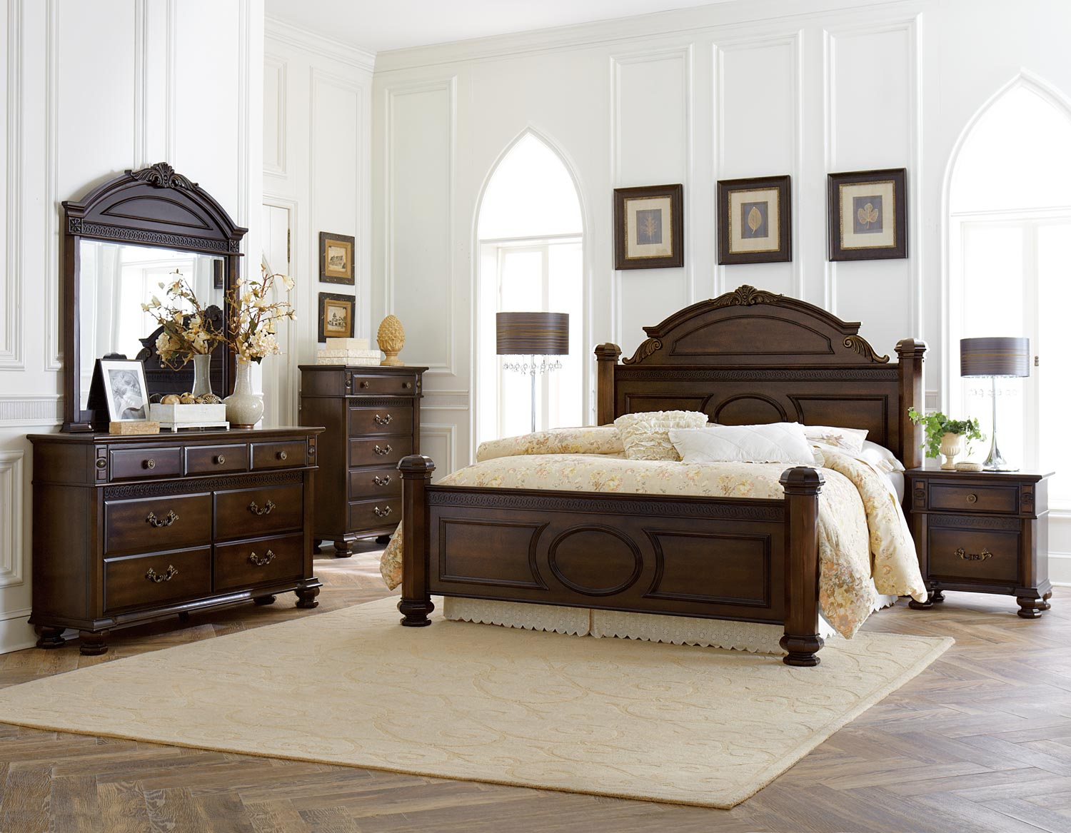 Homelegance Chantilly Glen Bedroom Set - Dark Cherry